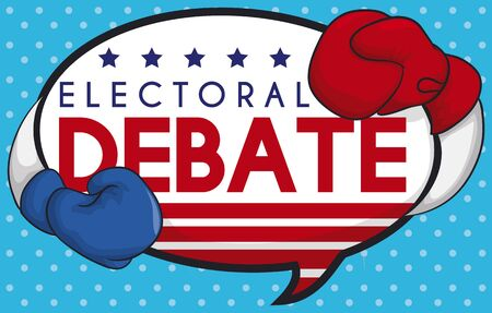 Creative poster with a couple of boxing gloves representing American parties, ready for the presidential debate on speech bubble with U.S.A design and dotted pattern.