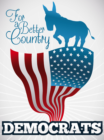 Commemorative poster for American elections with blue donkey silhouette supporting the Democrat vote in the next elections.