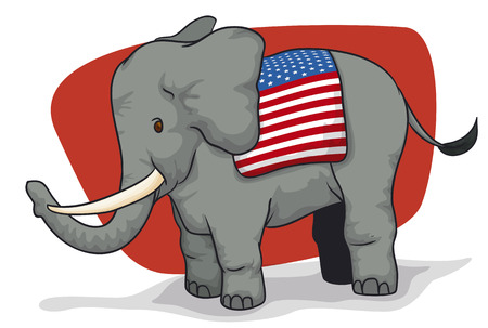 Poster with elefant and saddle like a U.S.A. flag, promoting the next American elections.