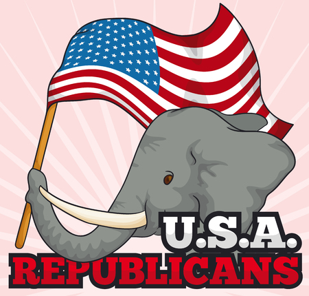 Cute elephant holding a waving flag of U.S.A. and supporting the Republican vote.