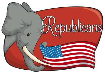 presidential: Poster with tender elephant holding the American flag with its trunk supporting the Republican vote in the next elections.