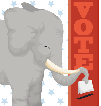 Poster with happy elephant voting with its trunk in the next American elections.