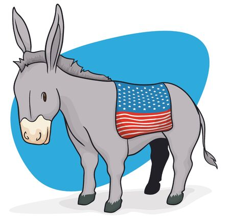 Poster with donkey and saddle like a U.S.A. flag, promoting the next American elections.
