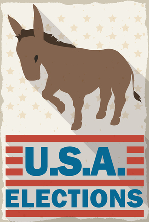 presidential: Classic poster with donkey promoting the vote in the next American elections in flat style and long shadow.