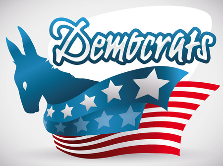 Poster with patriotic donkey silhouette and ribbons like American flag supporting the Democrat vote in the next elections. Illustration