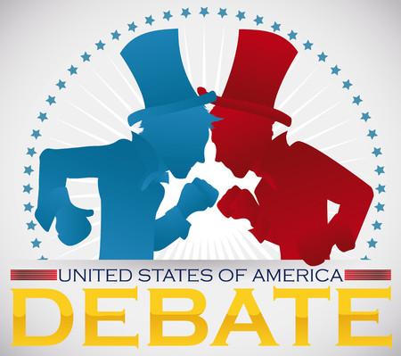 Commemorative poster for the Americas presidential debate with contenders silhouette of traditional parties ready to fight.
