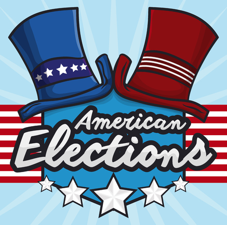 presidency: Top hats representing the traditional political parties in U.S.A. in commemorative design for American elections. Illustration