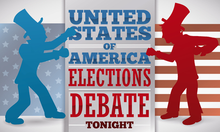 Banner with the silhouette of two contenders with top hats ready for the presidential debate and American design in the background.
