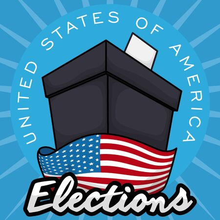 Poster with black ballot box ready for the American elections with a U.S.A. flag around it. Illustration