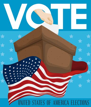 presidential: American design inviting you to vote in next elections with a cardboard ballot box with U.S.A. Flag around it and hand putting its ballot paper. Illustration