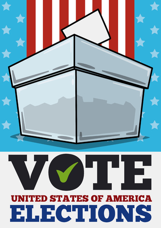 Commemorative design of American elections inviting you to vote with a translucent ballot box. Illustration