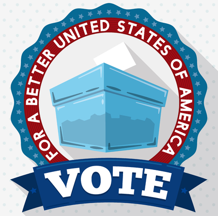 Translucent ballot box for American elections day inviting you to vote for a better United States of America in flat style design. Illustration