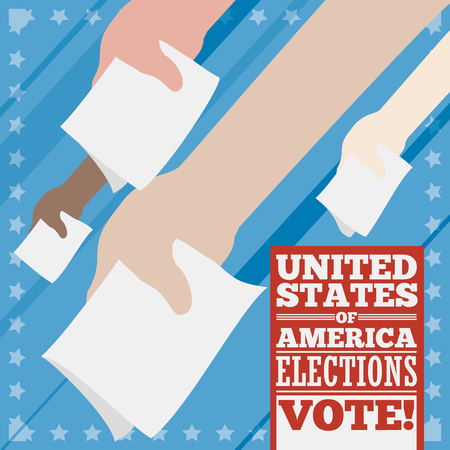 Commemorative poster with voters hands gripping the ballot paper ready to make their vote in next American elections.