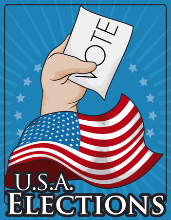 presidential: Commemorative patriotic design with American flag and voters hand with vote for the next elections.