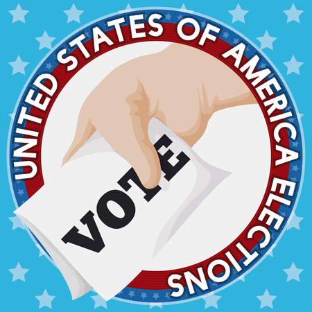 Commemorative American design with round button with hand and ballot paper in starry background inviting you for next U.S.A. elections.