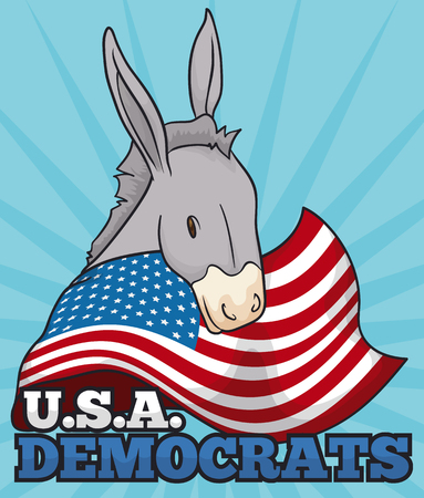 Poster with tender donkey supporting the Democrats in the next elections in U.S.A. Illustration