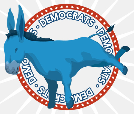 Poster with round button and blue donkey supporting the Democrat vote in the next elections in U.S.A. Illustration