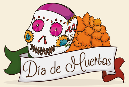 Colorful sugar skull with a marigold behind a greeting ribbon like Mexican flag for
