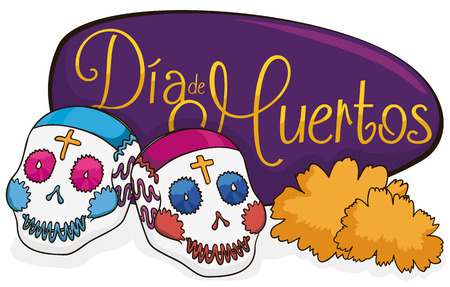 Pretty couple of sugar skulls with a marigold flowers and purple greeting sign celebrating