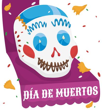 Colorful sugar skull over a purple ribbon commemorating Mexican