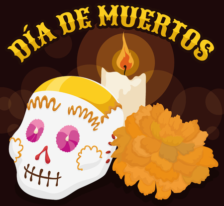 Night scene with a lighted candle, delicious sugar skull and a marigold flower for Mexican Dia de Muertos (translate from Spanish: Day of the Dead).