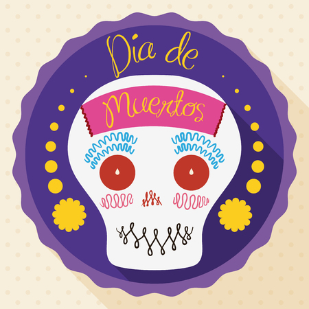 Cute and smiling sugar skull decorated with a paper in the front inside a greeting label for