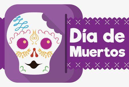 """Crâne de sucre surpris mordu avec un tissu de papier de voeux commémorant mexicain """"Dia de Muertos"""" (traduire de l'espagnol: """"Day of the Dead"""") dans un style plat."""