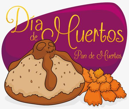 Dead bread with skull drawn in the top with a marigold and a purple sign with golden text commemorating Mexican Day of the Dead (Dia de Muertos in Spanish).