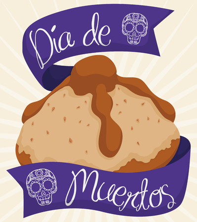 Bread of the dead to celebrate Mexican Dia de Muertos (translate from Spanish: Day of the Dead) with purple ribbons around it and traditional skulls outline drawn.
