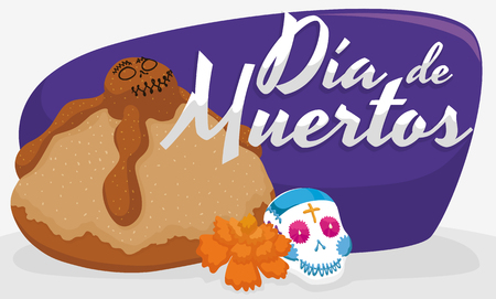 Delicious and traditional Mexican dead bread, with a little sugar skull and marigold flower for Dia de Muertos (Spanish for Day of the Dead).