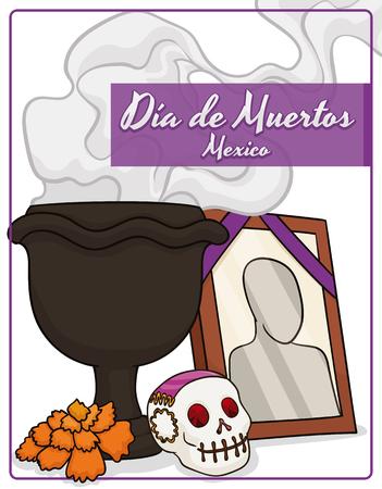"""Affiche avec des éléments traditionnels pour les autels mexicains """"Dia de Muertos"""" (l'espagnol pour le «Jour des morts""""): l'encens de Copal dans un encensoir noir, un petit crâne au sucre, une fleur de souci et une image du défunt. Vecteurs"""