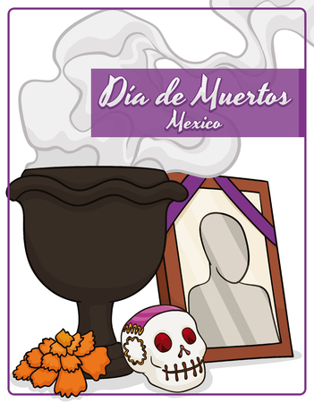 Poster with traditional elements for Mexican Dia de Muertos (Spanish for Day of the Dead) altars: copals incense in a dark censer, little sugar skull, marigold flower and a picture of the deceased. Иллюстрация