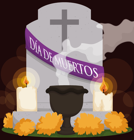 Poster with grave decorated according to the Mexican tradition of Dia de Muertos (Spanish for Day of the Dead): marigold flowers, candles and copals incense in ceramic censer.