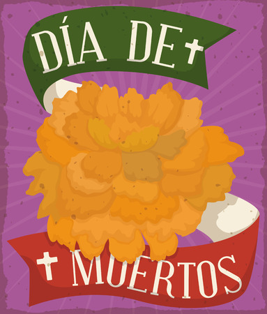 Retro poster with yellow cempasuchil or marigold flower and reminder ribbon with Mexican flag colors commemorating