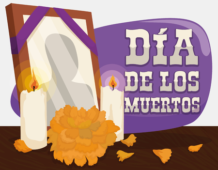 Poster with traditional altar with a deceased frame, candles and cempasuchil or marigold flower to remember and pay respect to the dead in