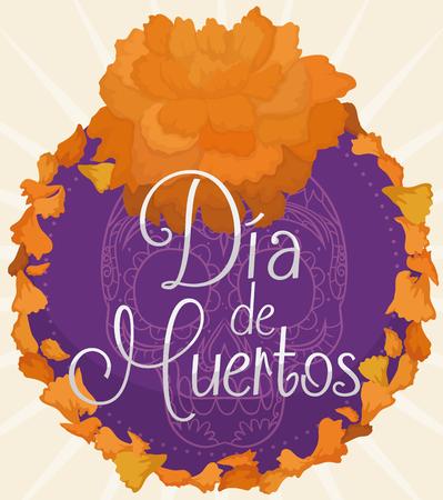 """Pétales de Cempasuchil (ou de fleurs de souci) autour d?un bouton floral avec un crâne traditionnel mexicain commémorant la célébration """"Dia de Muertos"""" (traduction de l?espagnol: """"Jour des morts"""")."""