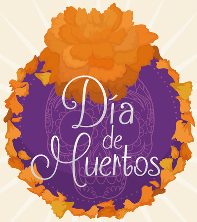 Cempasuchil (or marigold flower) petals around a floral button with Mexican traditional skull commemorating Dia de Muertos (translate from Spanish: Day of the Dead) celebration. Illustration