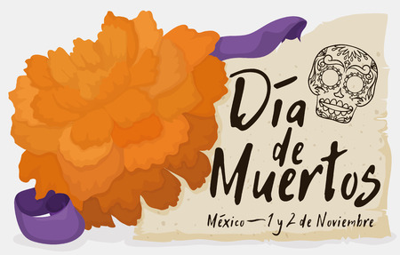 Banner with cempasuchil (or marigold) flower close to a piece of scroll with skull and reminder date for Mexican