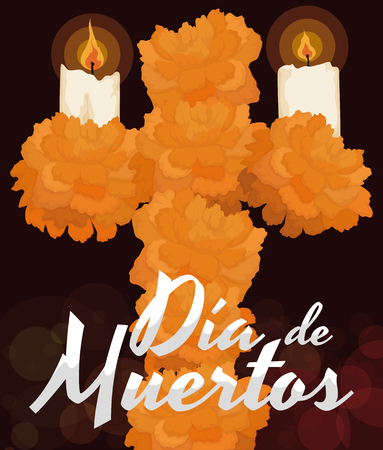 Poster with traditional floral cross offering made with cempasuchil (or marigold) petals and two candles lighted to celebrate the night of Dia de Muertos (translate from Spanish: Day of the Dead).