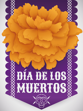 Poster with traditional cempasuchil (or marigold) flower over purple tissue paper as offering to deceased in Mexican tradition of Dia de Muertos (Spanish for Day of the Dead).