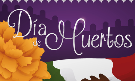 Banner with cempasuchil or marigold flower and Mexican flag with view of a graveyard in Dia de Muertos (translate from Spanish: Day of the Dead) celebration.
