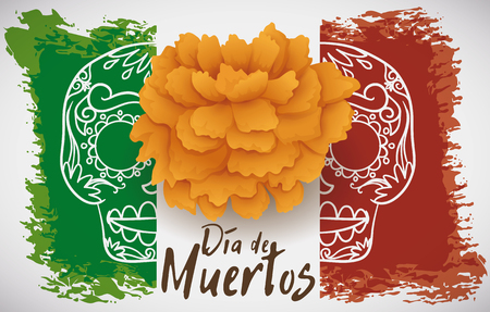 Banner with festive Mexican flag in brushstrokes for