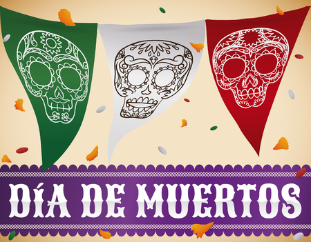 Poster with festive buntings like Mexican flag with skull design and some confetti and petals scattered around to celebrate Dia de Muertos (translate from Spanish: Day of the Dead).