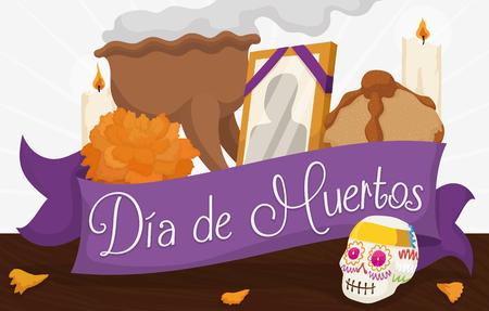 """Offres traditionnelles mexicaines pour célébrer """"Dia de Muertos"""": crâne de sucre, fleur de souci, pain mort, photo du défunt, bougies et encensoir de copal dans l'autel."""