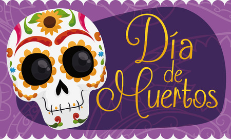 Banner with smiling colorful skull decorated with floral design for the Mexican celebration Day of the Dead (in Spanish: Dia de los Muertos) over a purple tissue paper decoration.