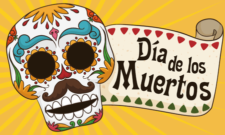 Banner with colorful smiling male skull with mustache and a greeting scroll for Mexican Dia de los Muertos (translate from Spanish: Day of the Dead) celebration.