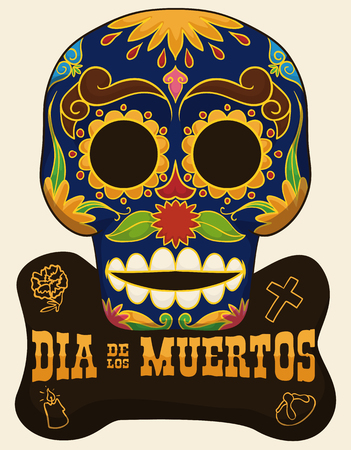 Poster with traditional skull with floral design and sign with iconic elements of Mexican celebration Day of the Dead (Dia de Muertos in Spanish).