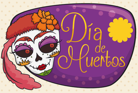 Banner with beauty colorful catrina with feather and marigolds ready to celebrate
