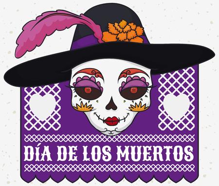 """Poster met kleurrijke catrina-schedel in elegante hoed versierd met een veer en goudsbloembloem voor Mexicaanse viering van """"Dia de los Muertos"""" (vertaald uit het Spaans: """"Dag van de Dood""""). Stock Illustratie"""