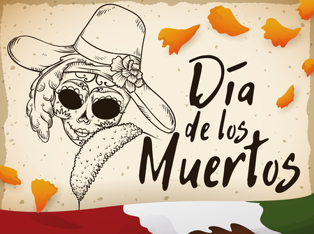 Retro postcard with elegant hand drawn catrina design with some petals of marigold scattered around and Mexican flag, commemorating